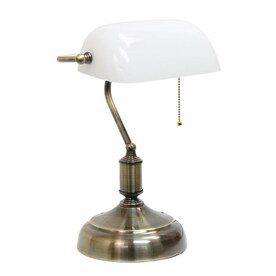 Simple Designs 14.4-in Antique Nickel/White Downbridge Table Lamp with Glass Shade