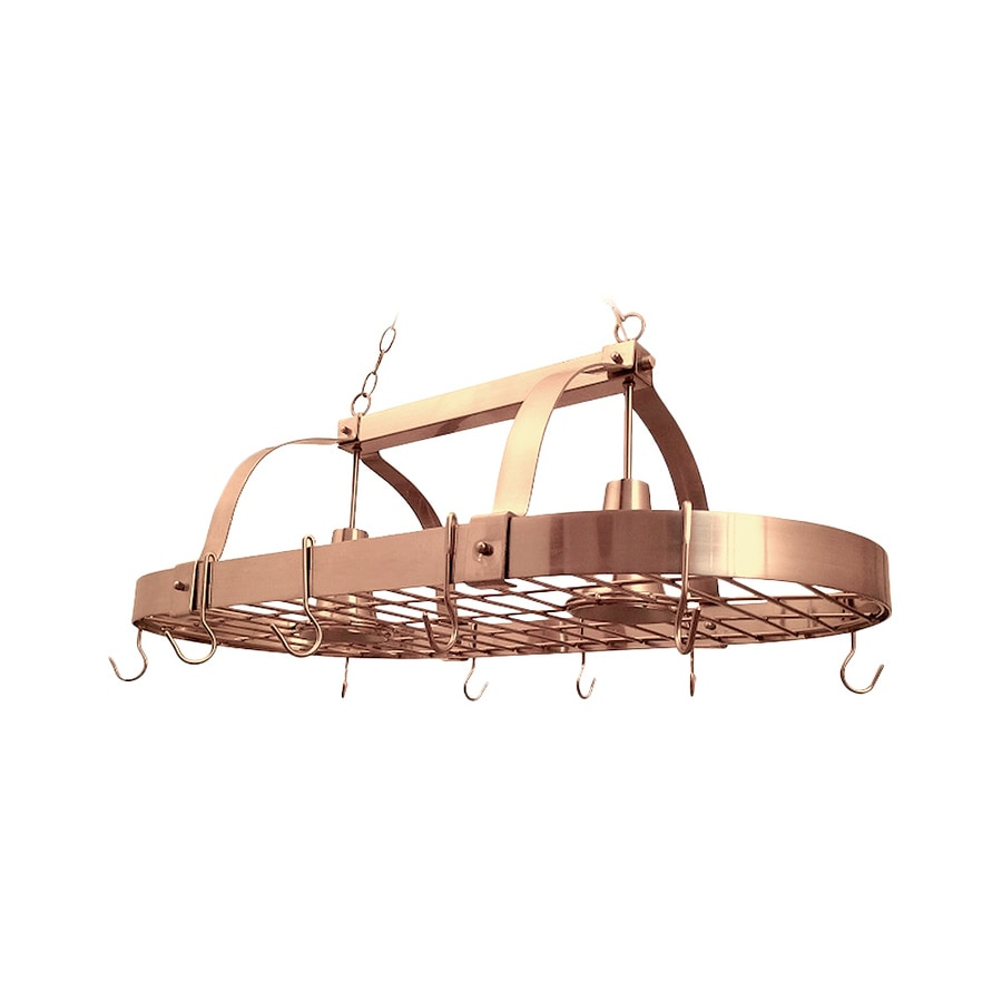 Elegant Designs Home 18.8-in W 2-Light Copper Hardwired Lighted Pot Rack with Shade