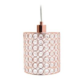 Elegant Designs Elipse Crystal Collection Rose Gold Mini Glam Crystal  Cylinder Pendant Light