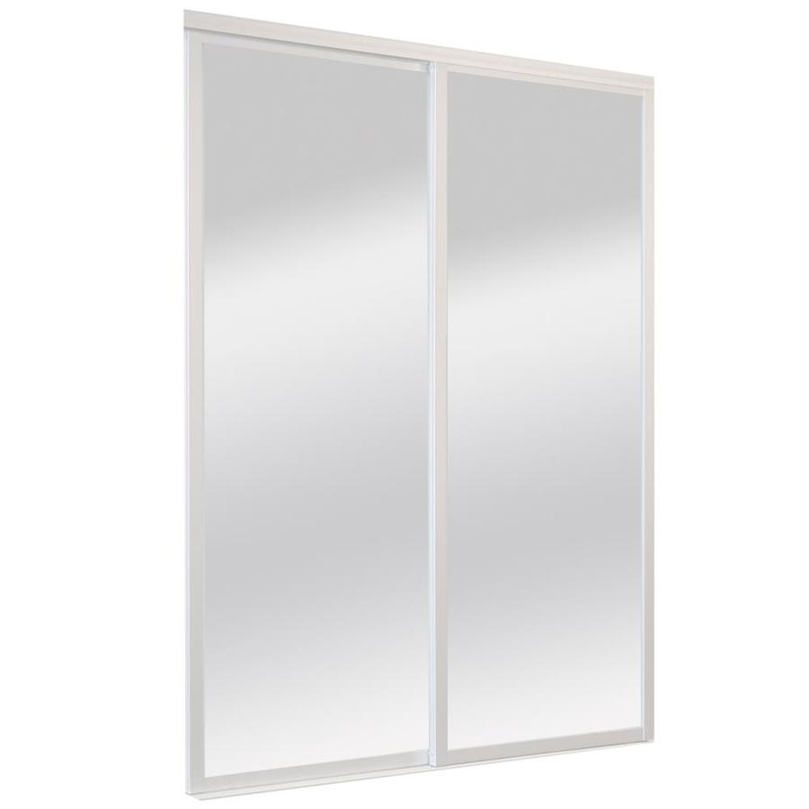 ReliaBilt 9800 Series Boston By-Pass Door (glass/mirror) Mirror Sliding closet Interior Door (Common: 48-in x 96-in; Actual: 48.0 x 96.0)