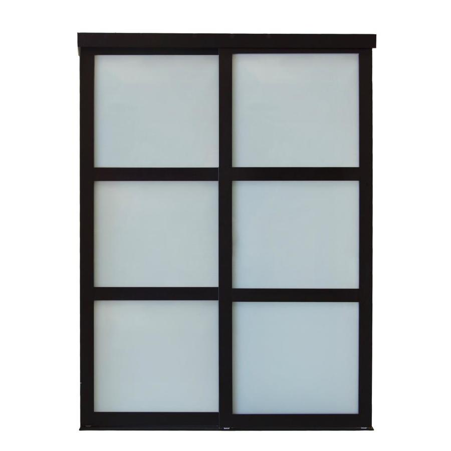 Shop ReliaBilt Frosted Glass Wood Pine Sliding Closet Interior Door