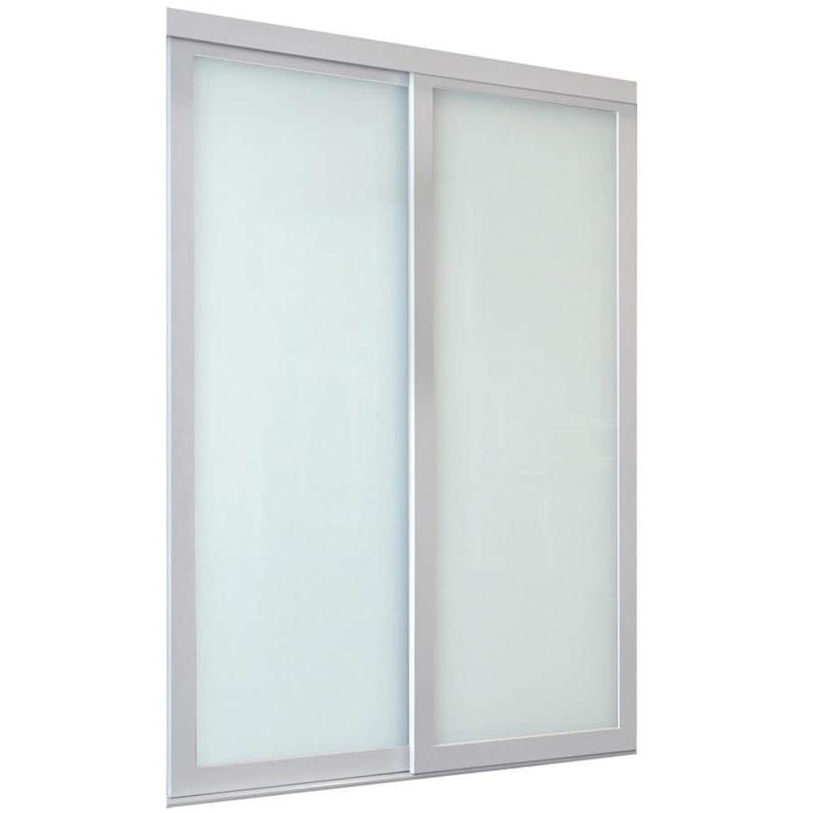 ReliaBilt 9700 Series North Frosted Glass Pine Sliding Closet Interior Door with Hardware (Common: 48-in x 96-in; Actual: 48-in x 96-in)