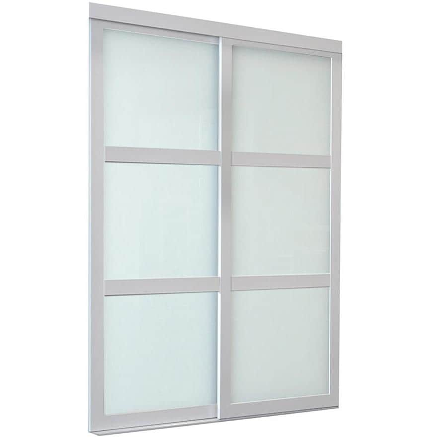 ReliaBilt 9700 Series North Frosted Glass Pine Sliding Closet Interior Door with Hardware (Common: 60-in x 96-in; Actual: 60-in x 96-in)