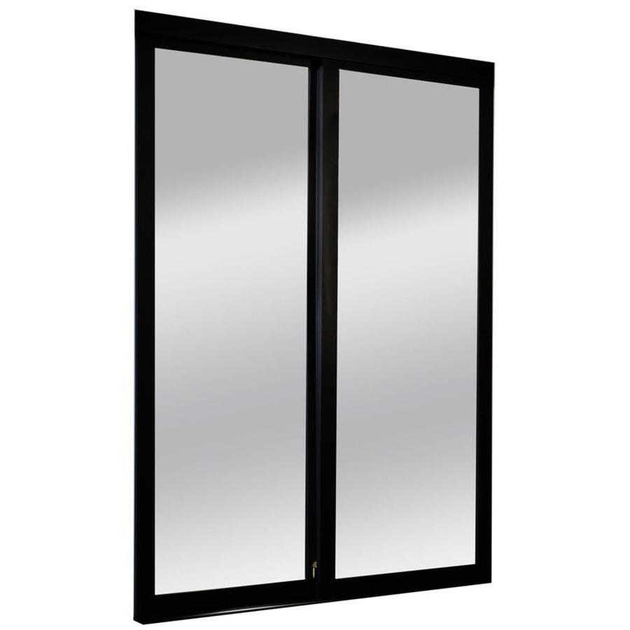 ReliaBilt 9700 Series North Mirror Aluminum Pine Sliding Closet Interior Door with Hardware (Common: 48-in x 96-in; Actual: 48-in x 96-in)