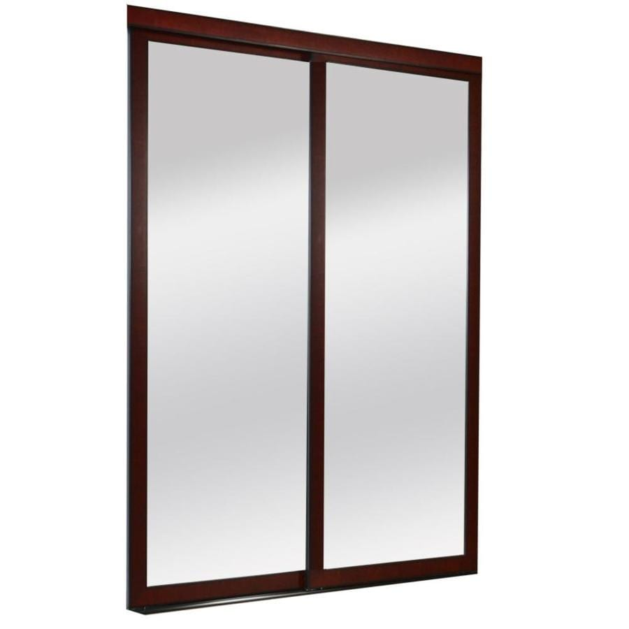 ReliaBilt 9700 Series Northwood Cherry Mirror/Panel Wood Pine Sliding  Closet Door With Hardware (