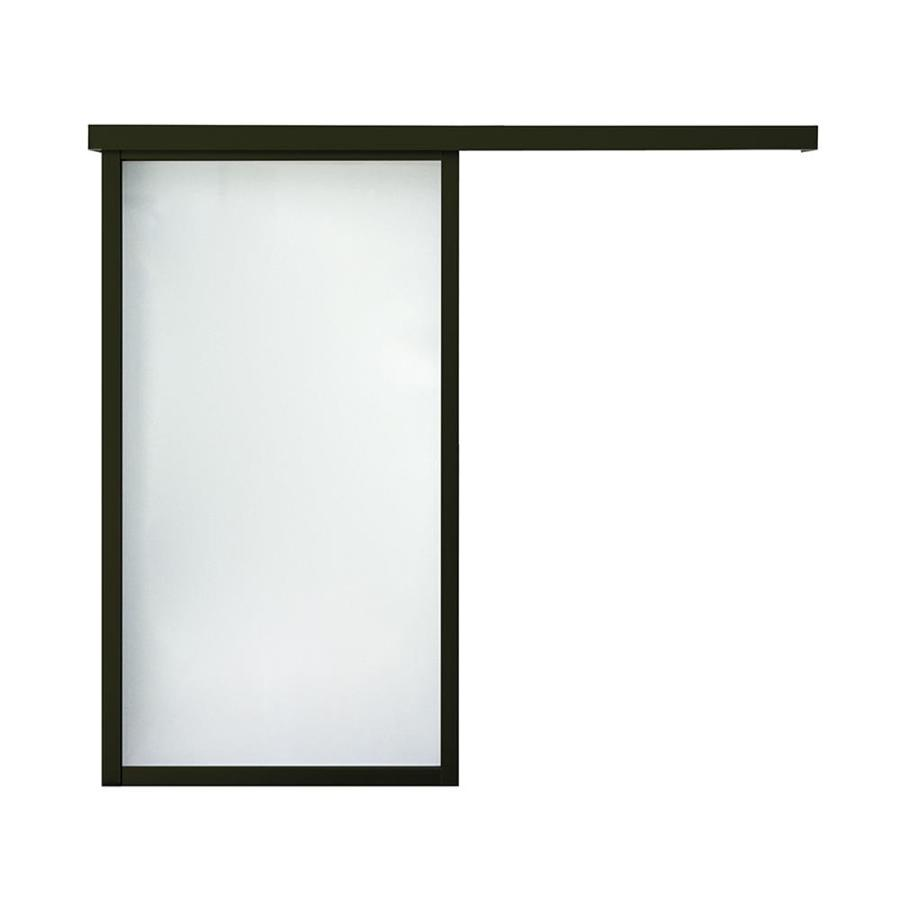 ReliaBilt 9851 Series Boston Wall Slider Frosted Glass Aluminum Barn Interior Door with Hardware (Common: 24-in X 96-in; Actual: 26-in x 95.5625-in)