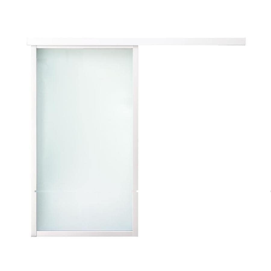 ReliaBilt 9851 Series Boston Wall Slider Frosted Glass Aluminum Barn Interior Door with Hardware (Common: 28-in x 80-in; Actual: 30-in x 79.5625-in)