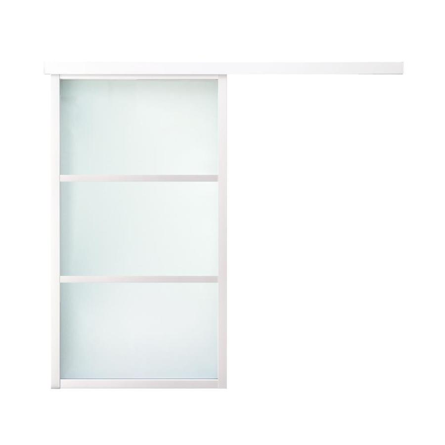 ReliaBilt 9851 Series Boston Wall Slider Frosted Glass Aluminum Barn Interior Door with Hardware (Common: 28-in X 80-in; Actual: 30-in x 95.5625-in)