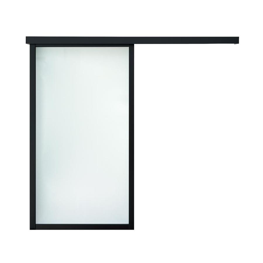 ReliaBilt 9851 Series Boston Wall Slider Frosted Glass Aluminum Barn Interior Door with Hardware (Common: 24-in X 80-in; Actual: 26-in x 79.5625-in)