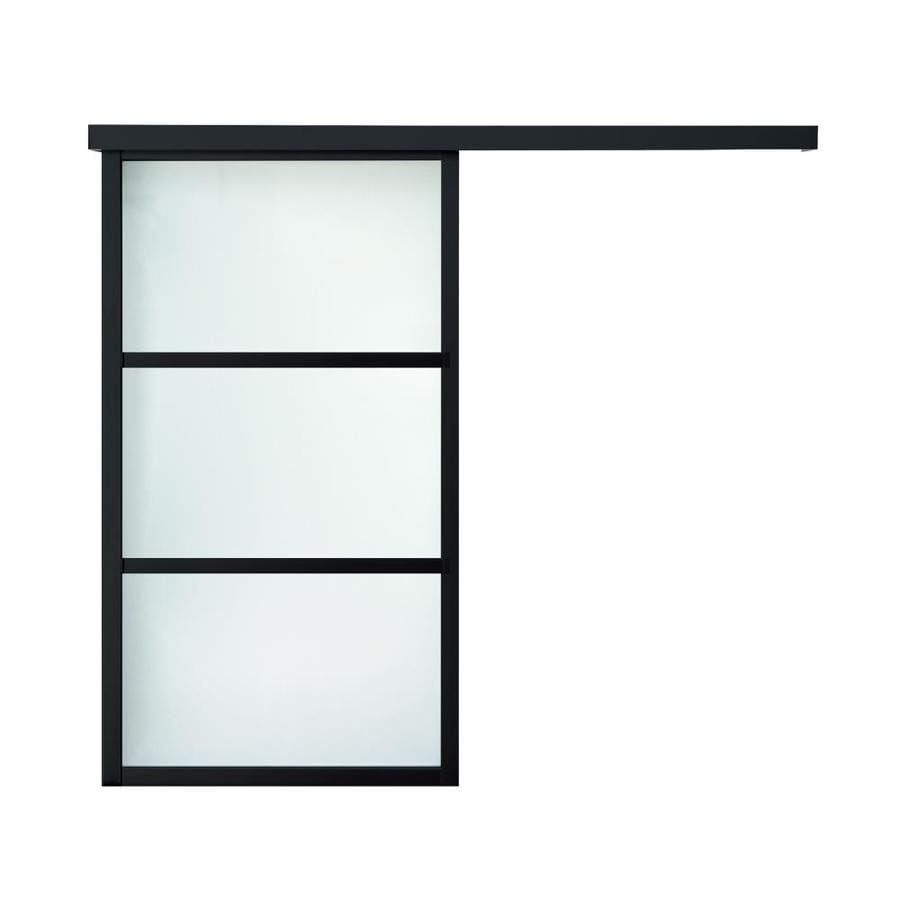 ReliaBilt 9851 Series Boston Wall Slider Frosted Glass Aluminum Barn Interior Door with Hardware (Common: 28-in x 96-in; Actual: 28-in x 95.5625-in)