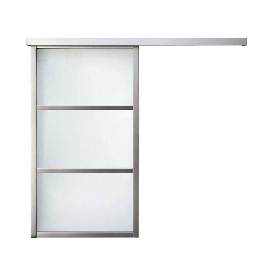 ReliaBilt 9851 Series Boston Wall Slider Frosted Glass Aluminum Barn Interior Door with Hardware (Common: 30-in x 96-in; Actual: 30-in x 95.5625-in)
