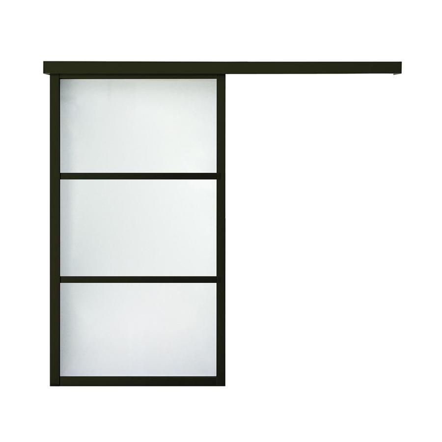 ReliaBilt 9851 Series Boston Wall Slider Frosted Glass Aluminum Barn Interior Door with Hardware (Common: 24-in x 80-in; Actual: 24-in x 79.5625-in)