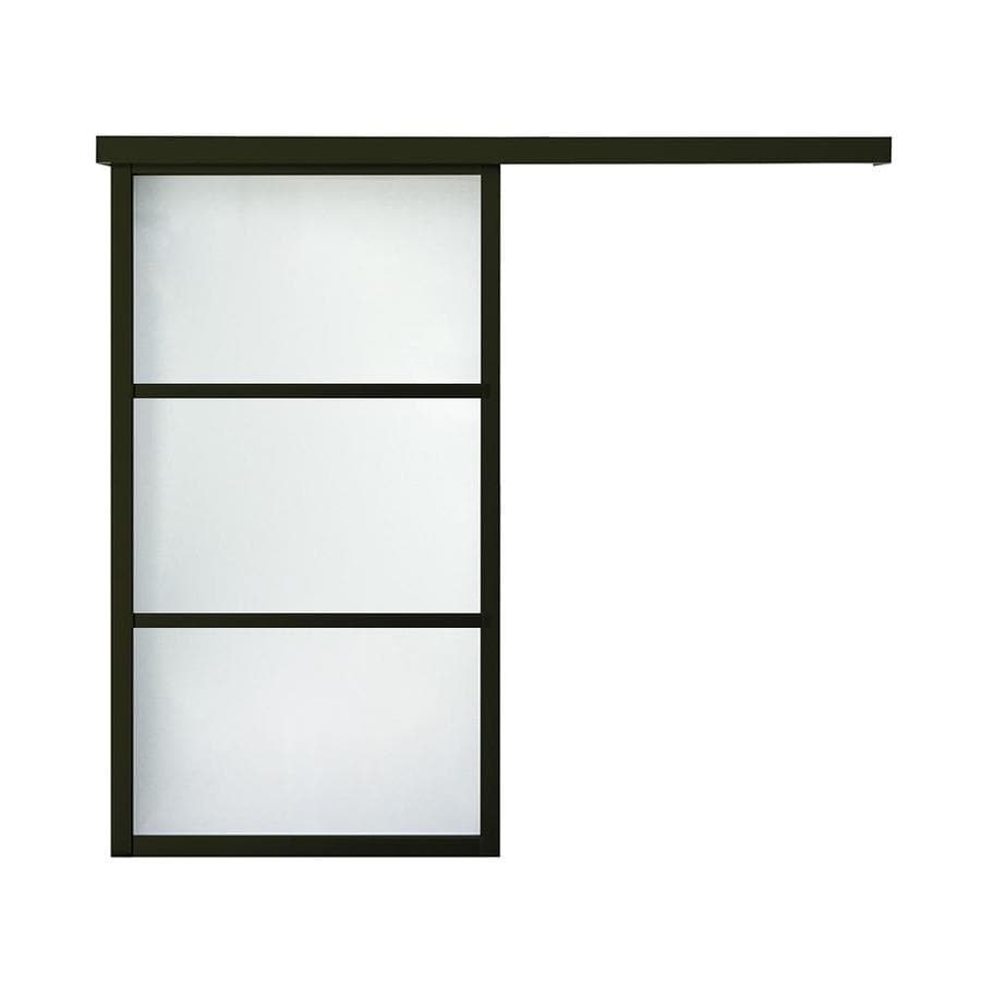 ReliaBilt 9851 Series Boston Wall Slider Frosted Glass Aluminum Barn Interior Door with Hardware (Common: 36-in x 96-in; Actual: 38-in x 95.5635-in)