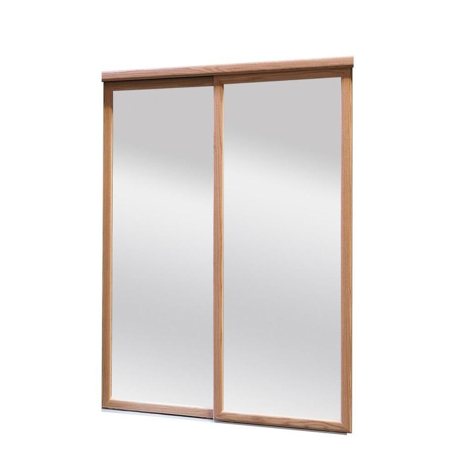 ReliaBilt 9750 Series Oakridge Mirror Oak Sliding Closet Interior Door with Hardware (Common: 48-in x 96-in; Actual: 48-in x 80-in)