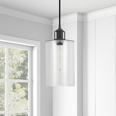 Hailey Home Nora Blackened Bronze Traditional Seeded Glass Cylinder Integrated Led Pendant Light by Lowe's