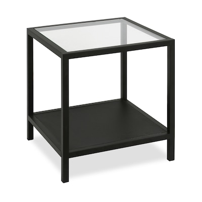 Sidetable Wit Met Glas.Hailey Home Rigan 22in Side Table In Black Glass Steel At