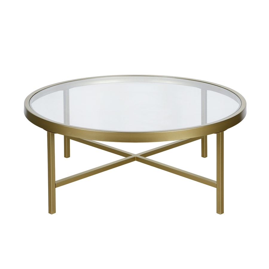 Hailey Home Sivil Brass Glass Coffee Table In The Coffee Tables Department At Lowes Com