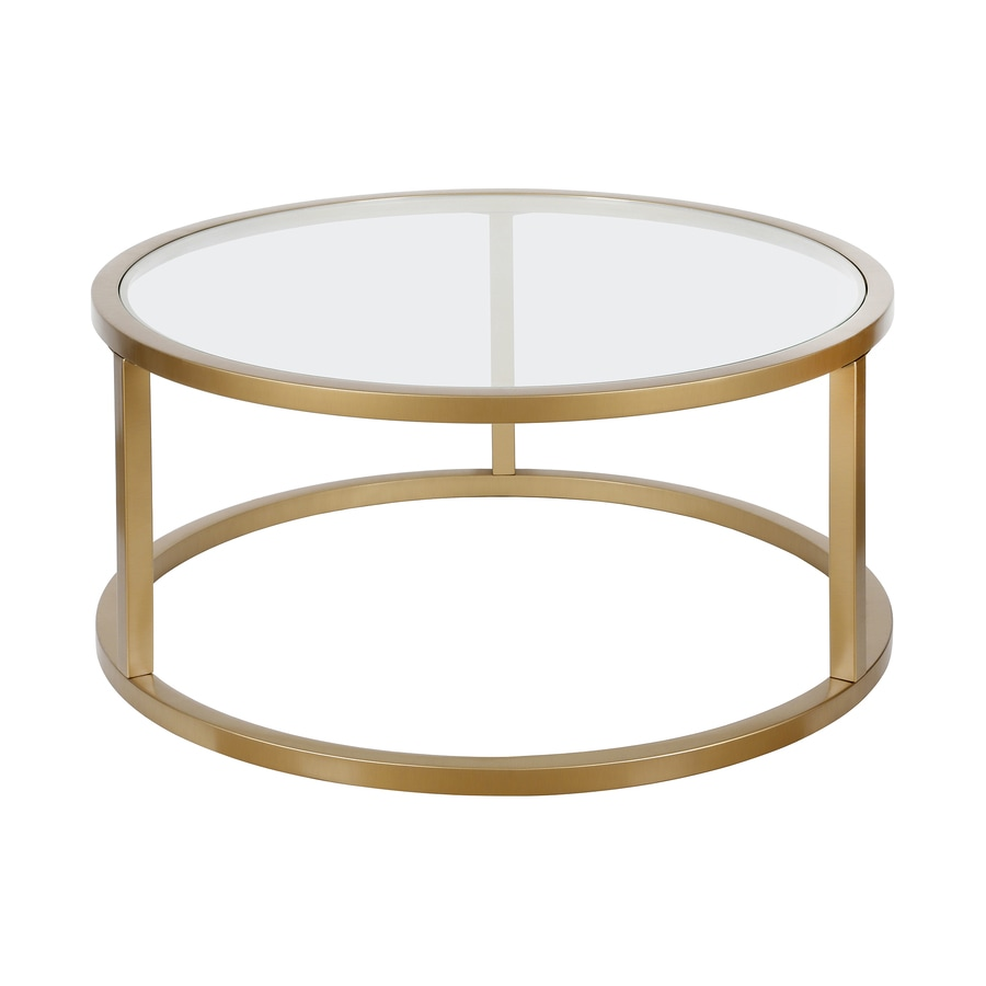Hailey Home Parker Brass Glass Coffee Table In The Coffee Tables Department At Lowes Com