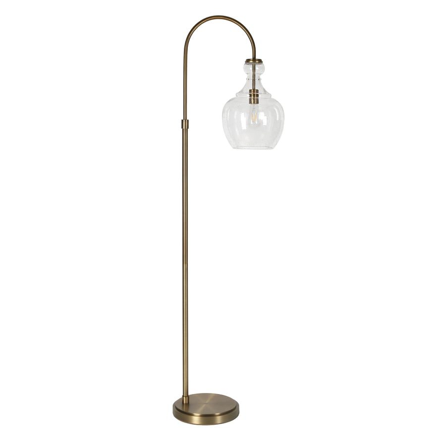 Hailey Home Verona 65 In Brass Seeded Glass Arc Floor Lamp In The Floor Lamps Department At Lowes Com