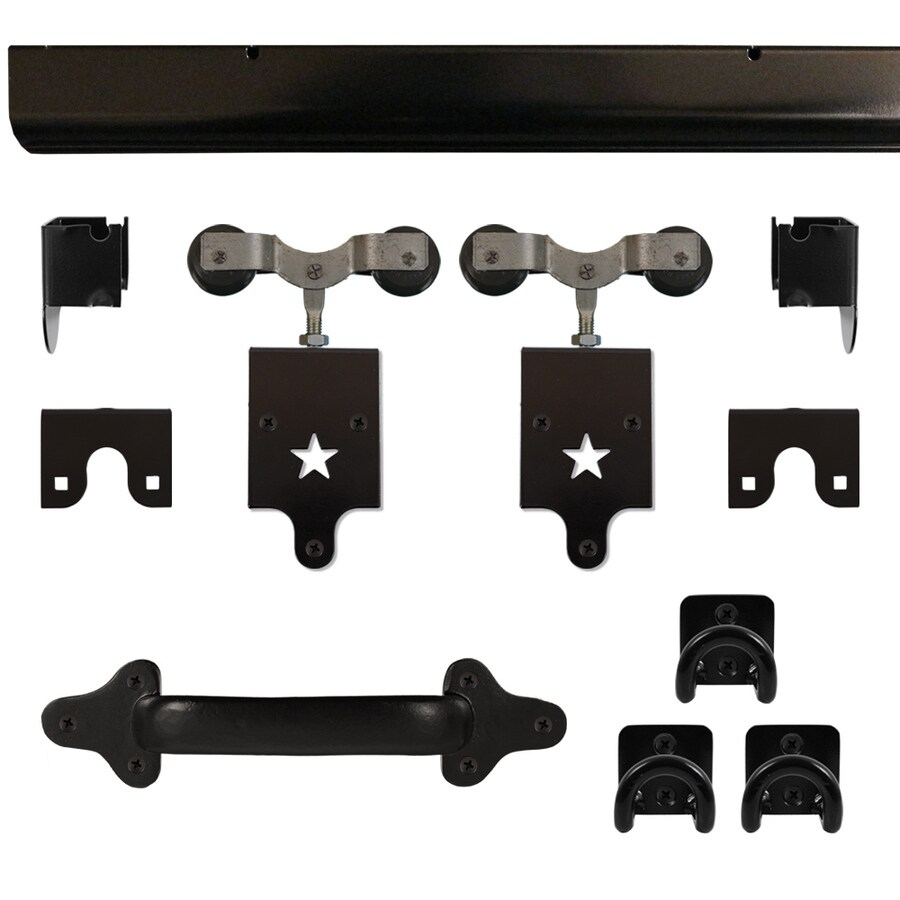 Shop quiet glide 96 in matte black aluminum side mount sliding barn door kit at Barn door track hardware home depot