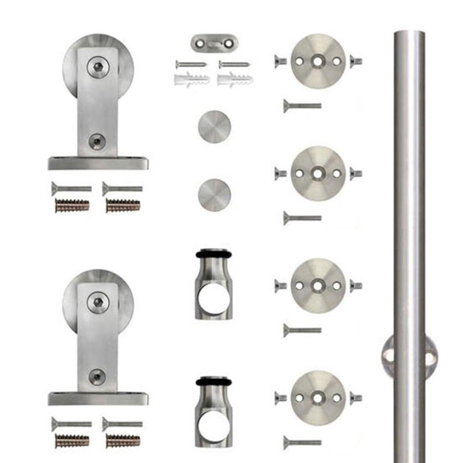 Shop sliding barn door hardware at lowes stainless glide 7875 in stainless steel top mount sliding barn door kit planetlyrics Images