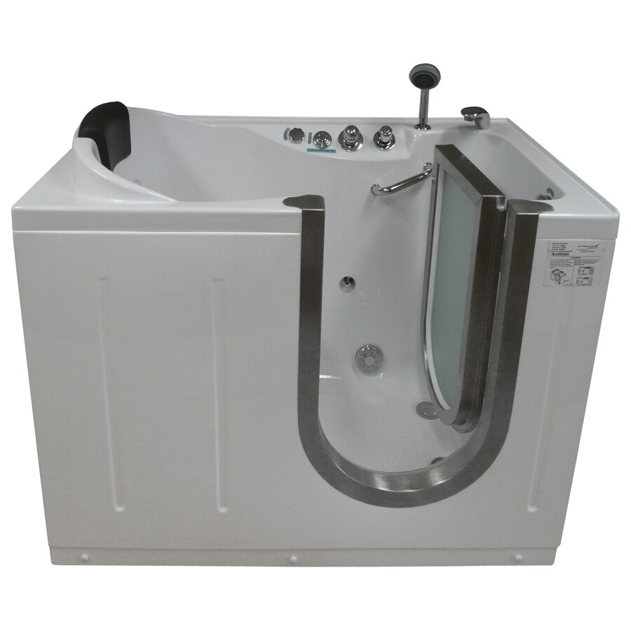 Northeastern Bath 52-in White Acrylic Walk-In Whirlpool Tub with Right-Hand Drain