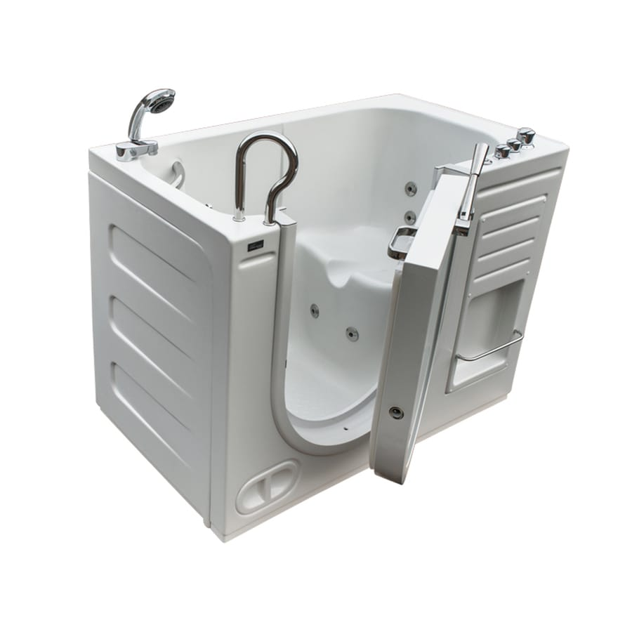 Shop northeastern bath 51 in white acrylic walk in for Walk in tub water capacity