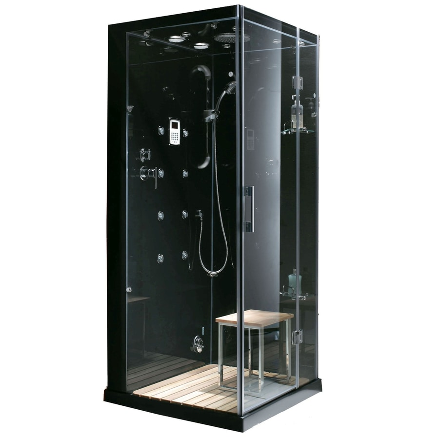 Northeastern Bath Black Tempered Glass Wall and Stone Composite Floor Square Steam 8-Piece Corner Shower Kit (Actual: 30-in x 86-in x 35-in)