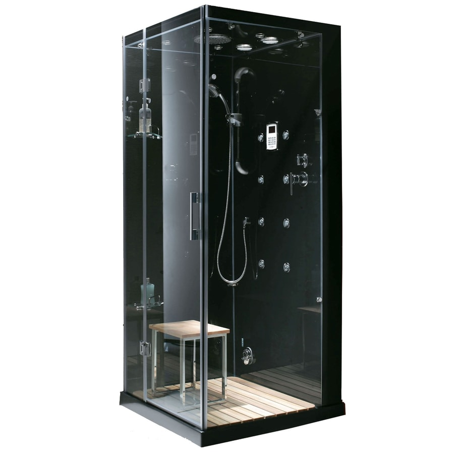 Northeastern Bath Black Tempered Glass Wall Stone Composite Floor Square Steam 8-Piece Corner Shower Kit (Actual: 30-in x 86-in x 35-in)