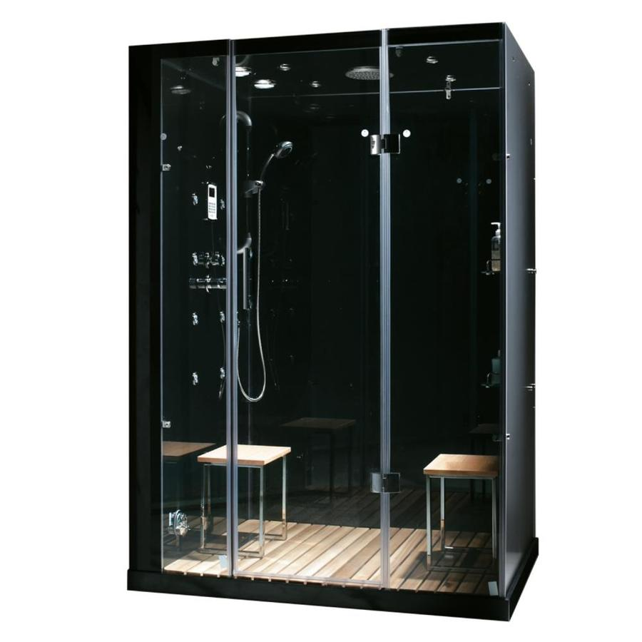 Northeastern Bath Orion Black Tempered Glass Wall Stone Composite Floor  With Steam 11 Piece Alcove