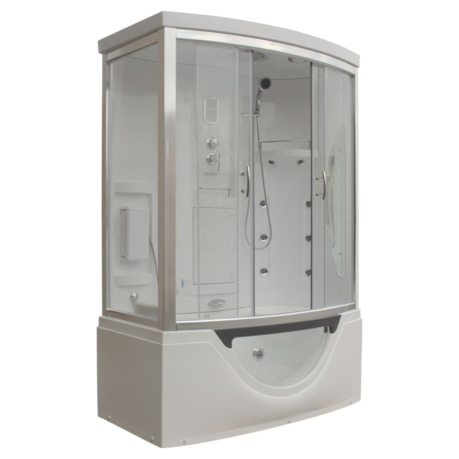Northeastern Bath White Acrylic Wall Acrylic Floor Rectangle Steam 8-Piece Corner Shower Kit (Actual: 88-in x 33-in x 59-in)