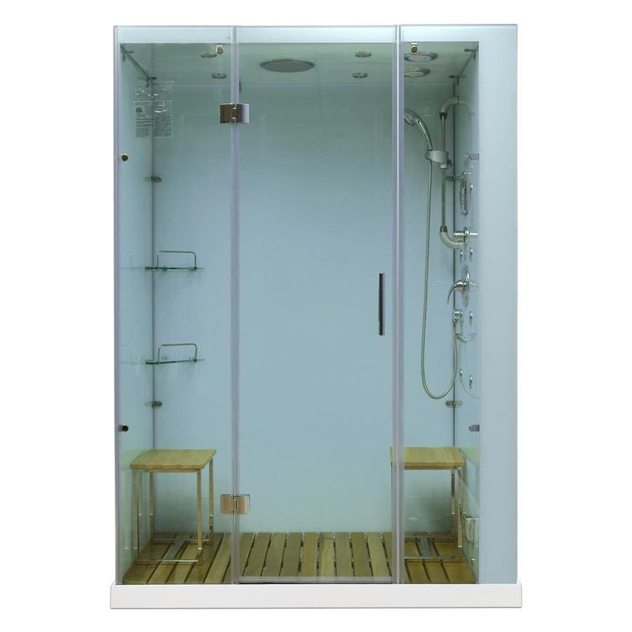 Northeastern Bath Orion White Tempered Glass Wall Stone Composite Floor with Steam 11-Piece Alcove Shower Kit (Common: 60-in x 32-in; Actual: 84-in x 59-in x 32-in)