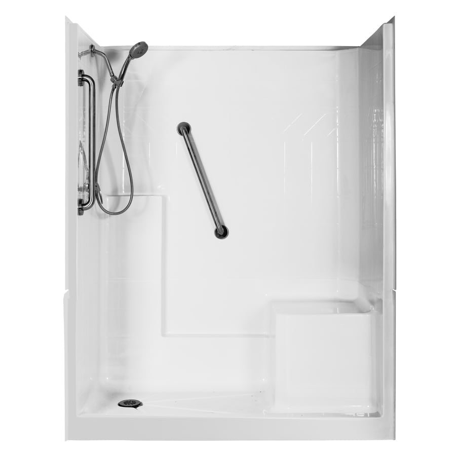 Northeastern Bath Elizabeth Low Threshold Barrier Free White Gelcoat and Fiberglass Wall and Floor 3-Piece Alcove Shower Kit (Common: 60-in x 32-in; Actual: 77-in x 60-in x 33-in)