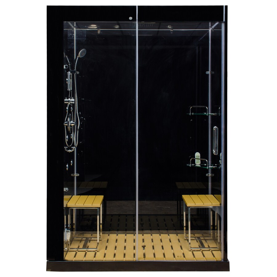 Northeastern Bath Venus Black Tempered Glass Wall Stone Composite Floor with Steam 10-Piece Alcove Shower Kit (Common: 60-in x 32-in; Actual: 85-in x 59-in x 32-in)