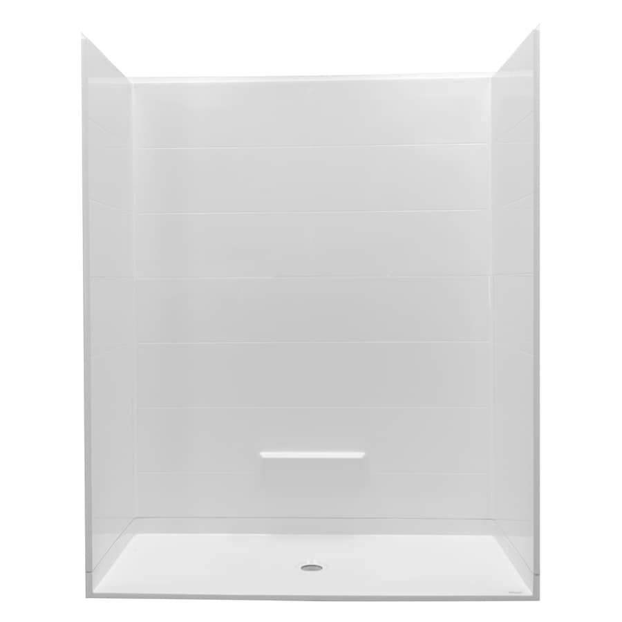 Northeastern Bath Victoria Low Threshold Barrier Free White Gelcoat/Fiberglass Wall and Floor 5-Piece Alcove Shower Kit (Common: 60-in x 32-in; Actual: 79-in x 62.625-in x 32.25-in)