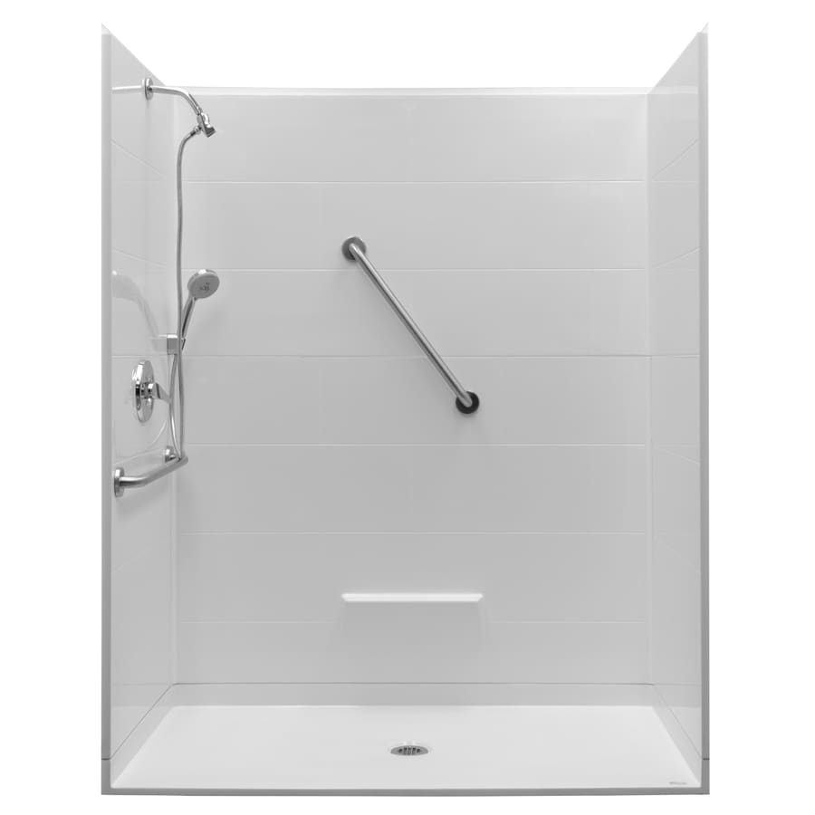 Northeastern Bath Victoria Low Threshold Barrier Free White Gelcoat/Fiberglass Wall Gelcoat/Fiberglass Floor 5-Piece Alcove Shower Kit (Common: 60-in x 32-in; Actual: 79-in X