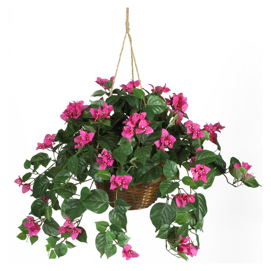 Hanging Flower Baskets At Lowes : Nearly natural bougainvillea hanging basket silk