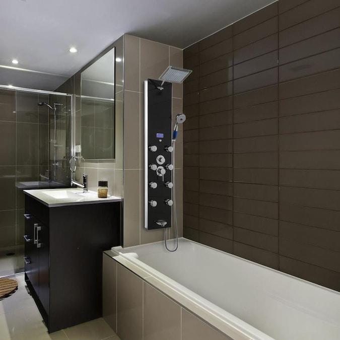 akdy 52in black tempered glass 8spray shower panel