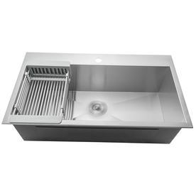 "AKDY 32"" x 18"" x 9"" Handmade Stainless Steel Top Mount Kitchen Sink Single Basin Tray Strainer Kit"