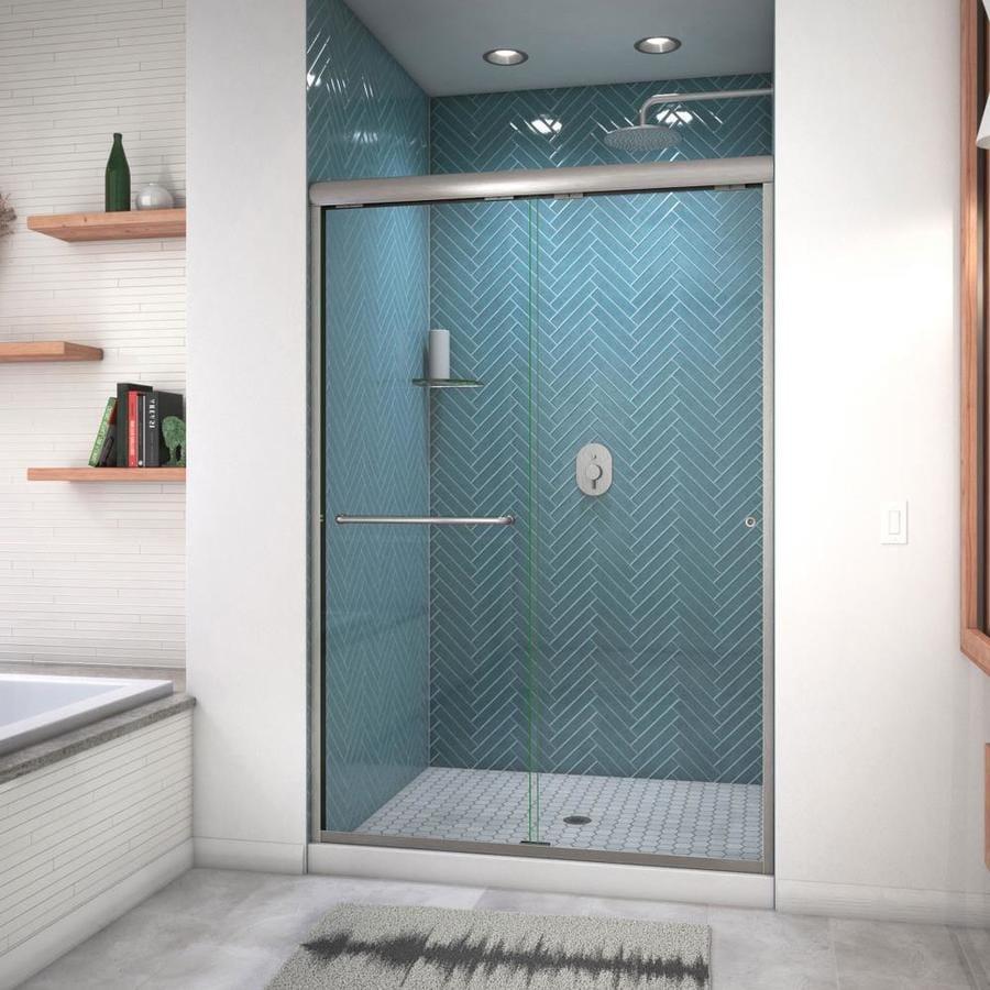 Arizona Shower Door Euro 44-in to 48-in W Semi-frameless Brushed Nickel Sliding Shower Door