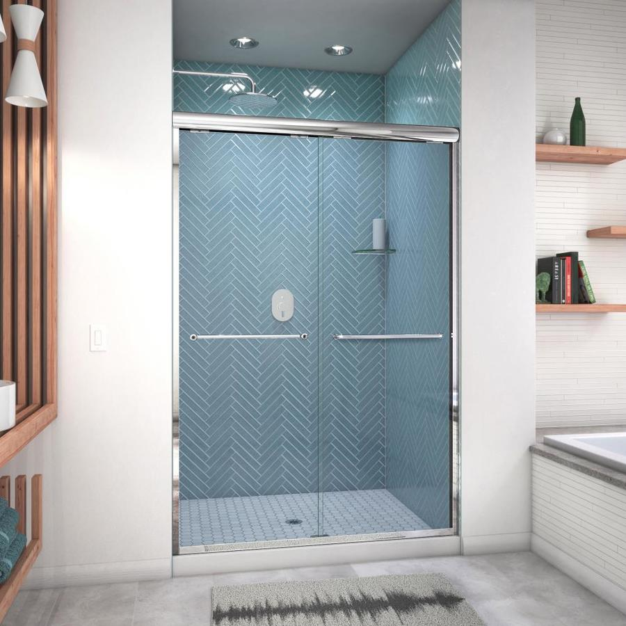 Arizona Shower Door Euro 44-in to 48-in W Semi-frameless Chrome Sliding Shower Door
