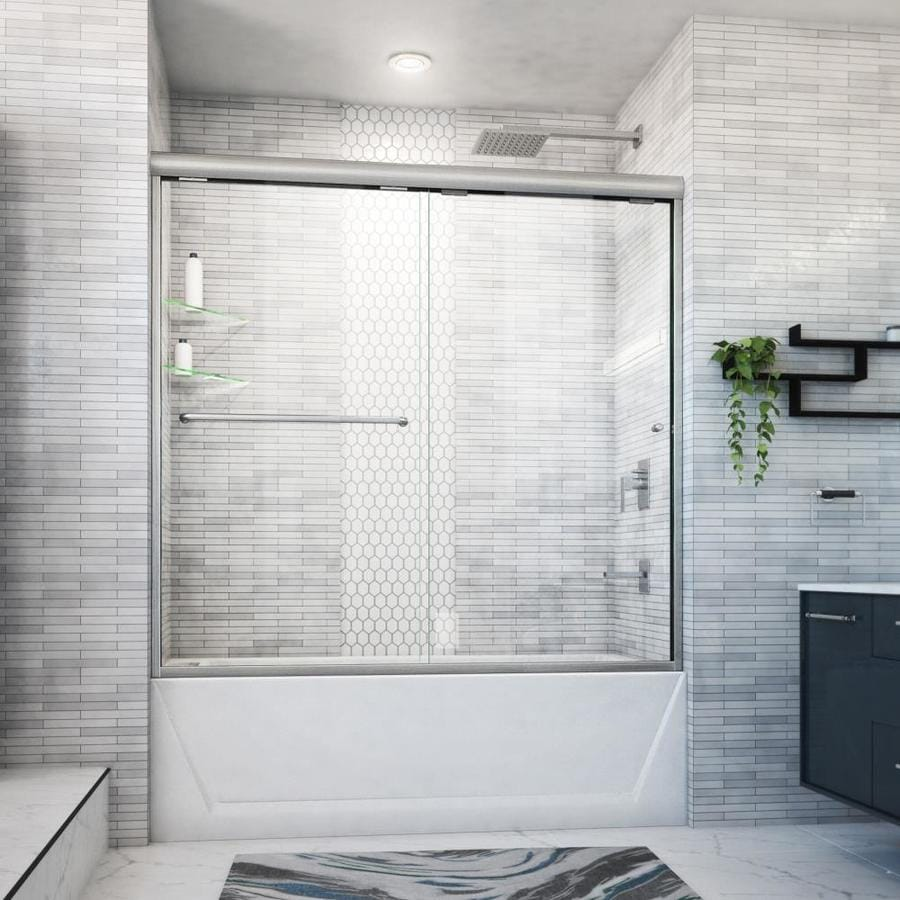 Arizona Shower Door Euro 56-in to 60-in W Semi-frameless Brushed Nickel Sliding Shower Door