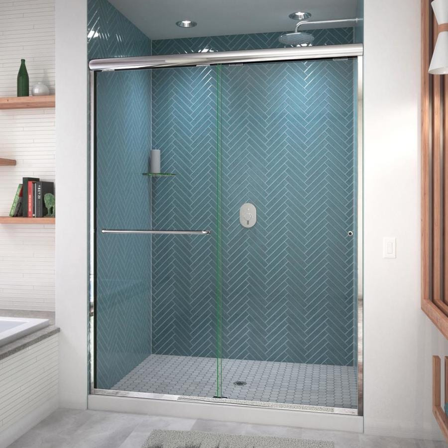 Arizona Shower Door Lite Euro 55.125-in to 57-in W Semi-frameless Brushed Nickel Sliding Shower Door