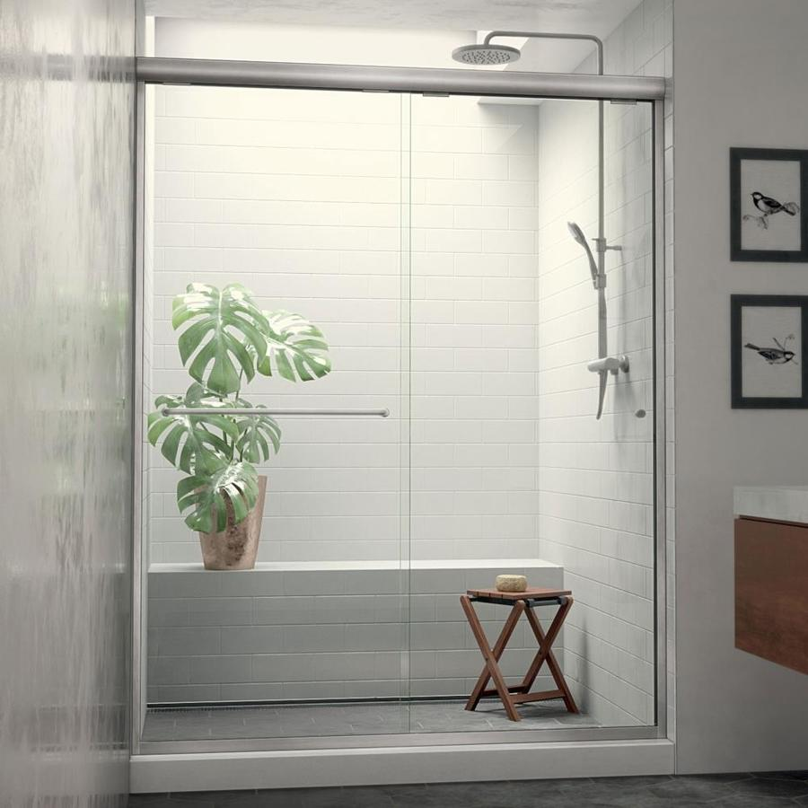 Arizona Shower Door Euro 44-in to 48-in W Semi-frameless Brushed Nickel Sliding Shower Door