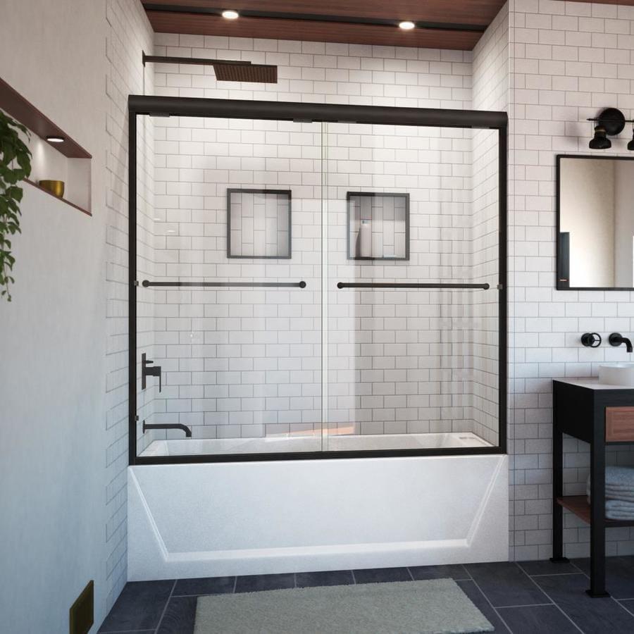 Arizona Shower Door Lite Euro 44-in to 48-in W Semi-frameless Brushed Nickel Sliding Shower Door