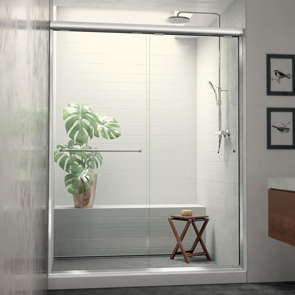 Arizona Shower Door Euro 56-in to 60-in W Semi-frameless Chrome Sliding Shower Door