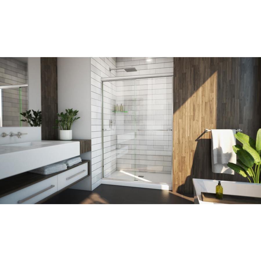 Arizona Shower Door Lite Euro 44-in to 48-in W x 70.375-in H Brushed Nickel Sliding Shower Door