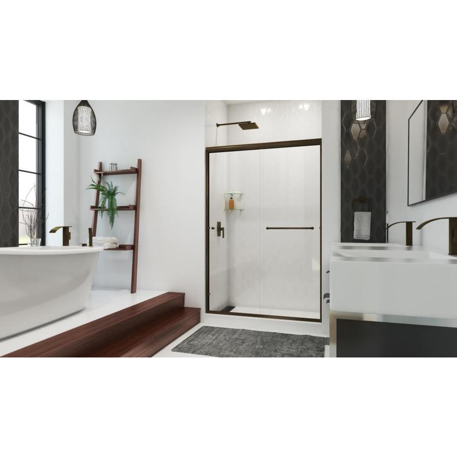 Arizona Shower Door Euro 44-in to 48-in W Frameless Anodized Oil-Rubbed Bronze Sliding Shower Door