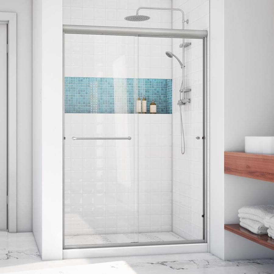Arizona Shower Door Lite Euro 56-in to 60-in W x 67.375-in H Brushed Nickel Sliding Shower Door