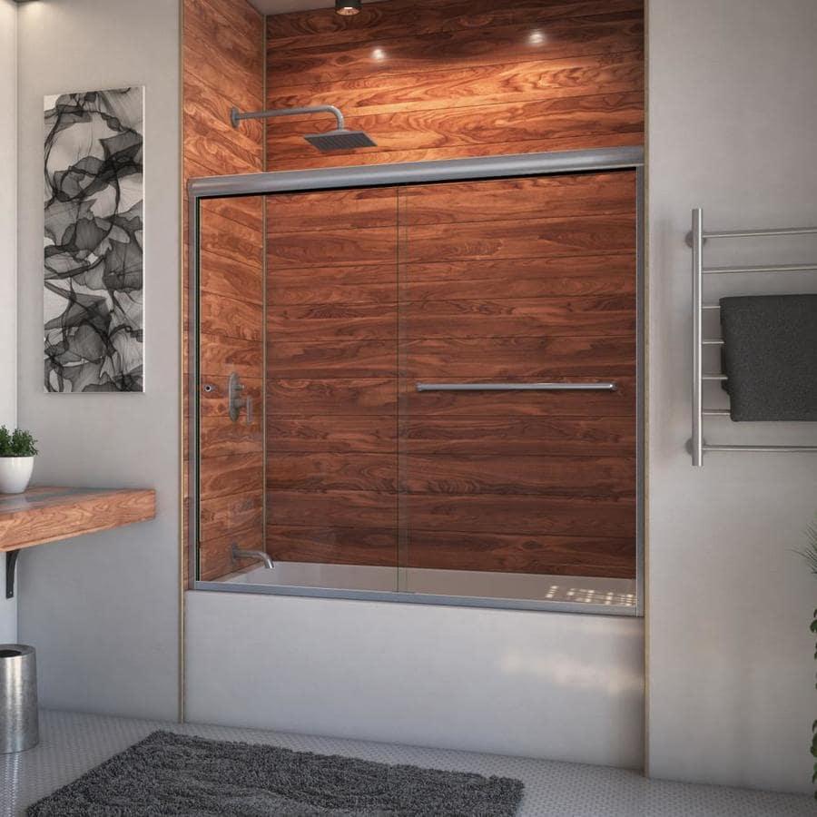 Arizona Shower Door Euro 62-in to 66-in W Frameless Brushed Nickel Sliding Shower Door